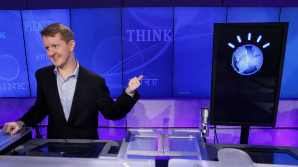 <em>Jeopardy!</em> contestant Ken Jennings, who won a record 74 consecutive games, concedes to supercomputer opponent Watson in February 2011.
