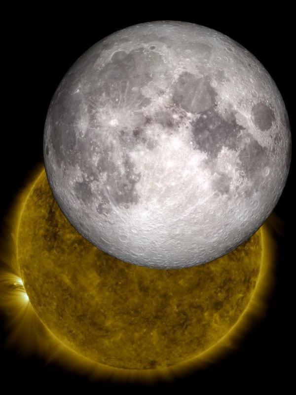 "<strong>Live, from the moon, it's the space weather report:</strong> Data from a lunar orbiter is being used to create a music stream that reflects conditions in space. Here, an image created by NASA ""visualizers"" who used data from 2010 to show the moon traveling across the sun, as happens two or three times a year."