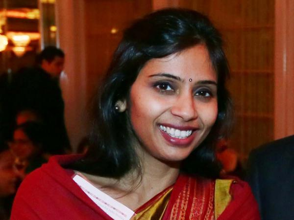 Devyani Khobragade, India's deputy consul general, at an India Studies Stony Brook University fundraiser in Long Island, N.Y., on Dec. 8. Khobragade's arrest last month on visa fraud charges sparked a diplomatic row between India and the U.S. She left the country Thursday.
