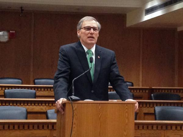 Governor Jay Inslee speaks at a legislative preview forum in Olympia hosted by the Associated Press.