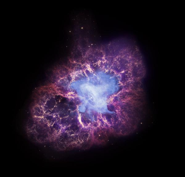 'The Crab Nebula is an iconic object in space that has been studied intensely by both telescopes on the ground and those in space. This image of the Crab combines data from three of NASA's Great Observatories.  X-rays from Chandra (blue) have been combined with optical images from Hubble (red and yellow) as well as infrared data from Spitzer (purple).  Together, these three telescopes provide a striking view of this famous cosmic source.'