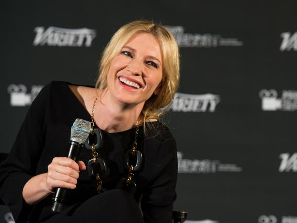 <strong>Laugh Riot:</strong> Blanchett, pictured here at a Hollywood screening of <em>Blue Jasmine</em> on Jan. 9, tells NPR's Robert Siegel that she read the film as a black comedy. It wasn't until three weeks into filming that director Woody Allen told her it was meant to be a serious drama.