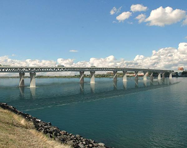 An artist's rendition of the proposed 1-5 bridge over the Columbia River.