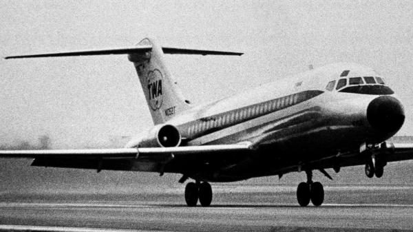 The Trans World Airlines Douglas DC-9, a twin jet aircraft designed to take off and land on runways of less than 6,000 feet, is shown in this 1966 photo, less than a year after its first commercial flight.