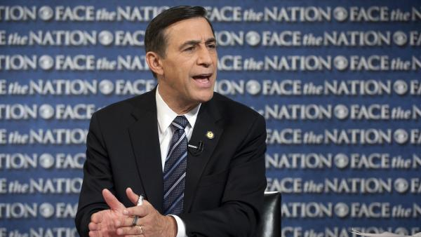 Rep. Darrell Issa, R-Calif., speaks on CBS's <em>Face the Nation</em> in Washington on Oct. 27. A new report lists Issa as the wealthiest member of Congress.