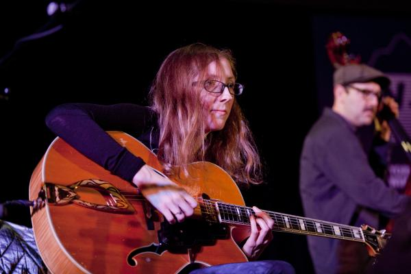 Guitarist Mary Halvorson presented her septet in concert, including bassist John Hebert.