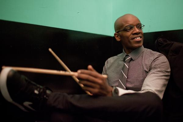 Drummer Rudy Royston, pictured backstage at Le Poisson Rouge, presented his 303 band for the first time in concert.