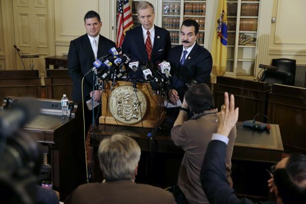 Democratic New Jersey Assemblymen (from left) Lou Greenwald, John S. Wisniewski and Vincent Prieto take questions at a news conference announcing a renewed investigation into the George Washington Bridge scandal.