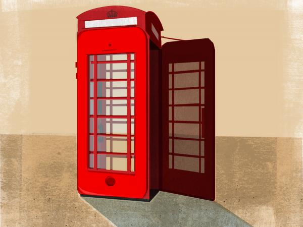 "Maria Fabrizio's illustration of: ""Some Brits Not Ready To Say 'Ta-Ra' To Iconic Telephone Box"""