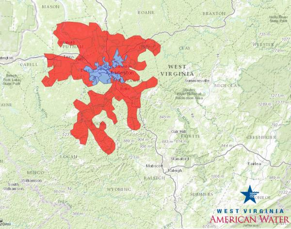 4:45 p.m. ET, Jan. 14: Areas in red still can't use their water. But the blue area is starting to expand.