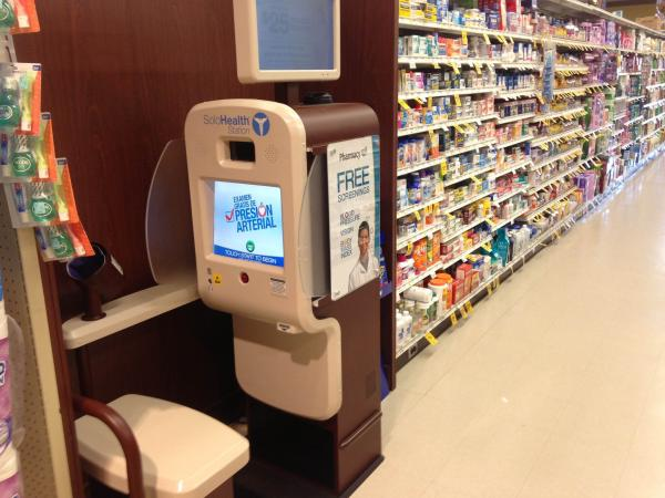 SoloHealth owns 3,500 health screening kiosks like this one in San Francisco. In some states, the company sells customer contact information to insurers.
