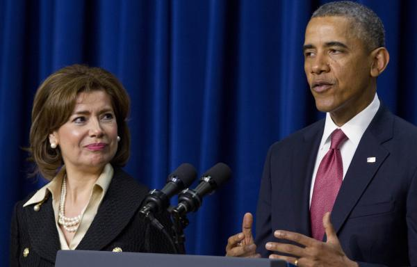 President Barack Obama announces he will nominate Maria Contreras-Sweet, left, founder and board chairman of a Latino-owned community bank in Los Angeles, as the head of the Small Business Administration.