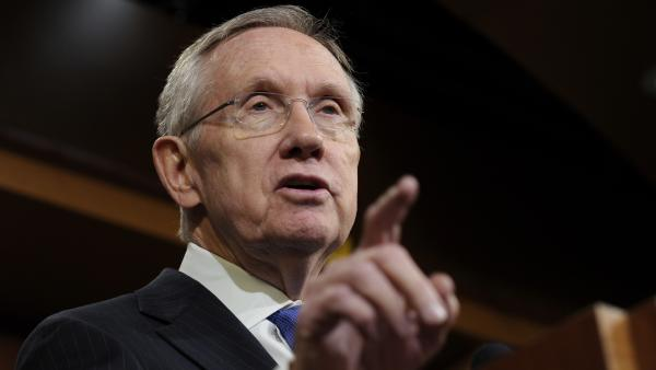 Senate Majority Leader Harry Reid of Nevada talks about unemployment benefits during a news conference Thursday.