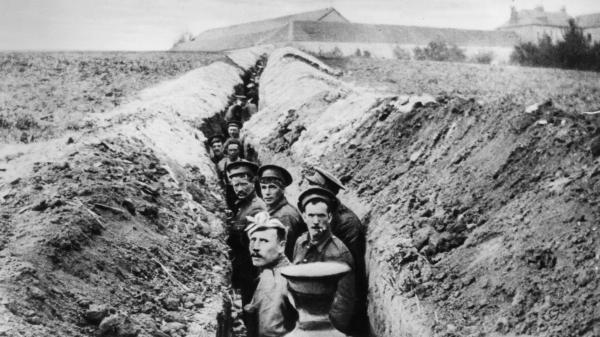 British soldiers in the trenches, late 1914.