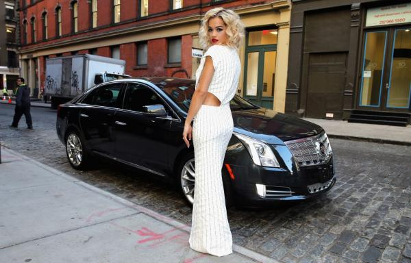 Actress/singer Rita Ora departs for the Costume Institute Benefit at The Metropolitan Museum of Art in a Cadillac XTS. (Cadillac)