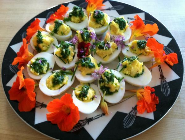 Kathy Gunst's deviled eggs. (Kathy Gunst/Here & Now)