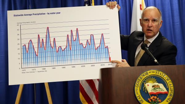 Gov. Jerry Brown holds a chart showing California's average precipitation as he declares a drought state of emergency for the state Friday. Brown asked residents to voluntarily reduce water usage by 20 percent.
