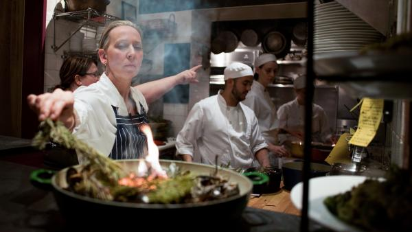 Gabrielle Hamilton prepares pine needles at Prune Restaurant in New York City.