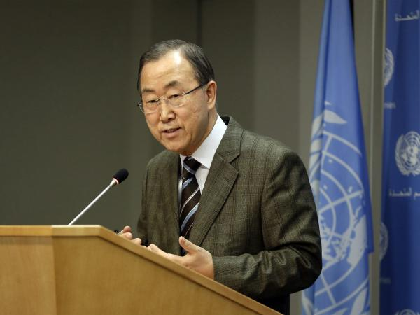 United Nations Secretary-General Ban Ki-moon addresses the media during a news conference at U.N. headquarters in New York on Sunday.