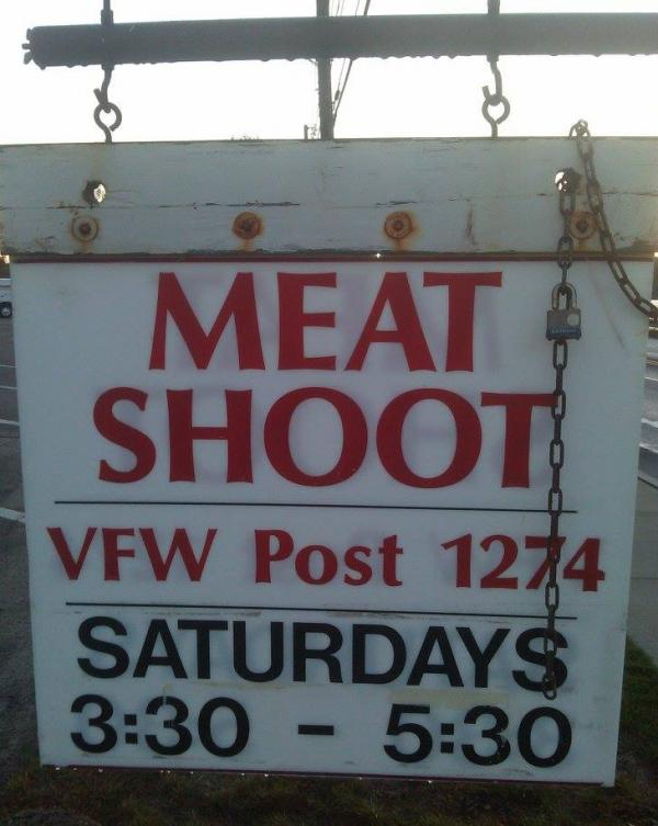 A sign for a meat shoot in Natick, Mass. (Alex Ashlock/Here & Now)