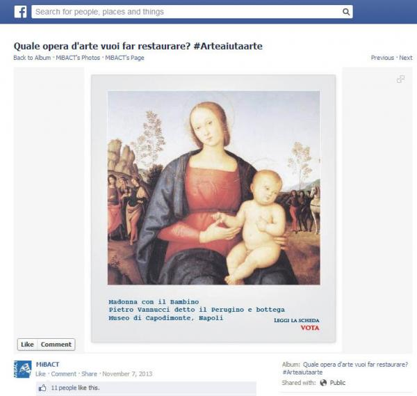 "Pietro Perugino's painting of a Madonna and Child --€"" shown above in the context of its L'Arte Auita L'Arte <a href=""https://www.facebook.com/photo.php?fbid=10151955465093711&set=a.10151955464393711.1073741881.171645503710&type=1&theater"">campaign page</a> on Facebook — won the popular vote."