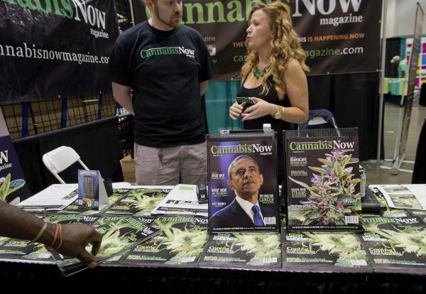 President Obama graces the cover of <em>Cannabis Now</em> magazine at the HempCon medical marijuana show, May 24, 2013, in Los Angeles.