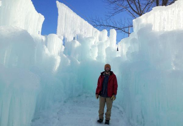 Cory Livingood stands in a potential ice throne location. (Sean Hurley/NHPR)