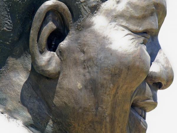 Look closely and you can see the tiny rabbit that sculptors Andre Prinsloo and Ruhan Janse van Vuuren put inside the ear of their nearly 30-foot-tall statue of late South African President Nelson Mandela at the Union Buildings in Pretoria.