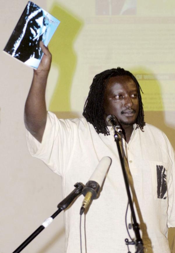 Binyavanga Wainaina, editor of <em>Kwani?,</em> in 2003 in Nairobi, Kenya.