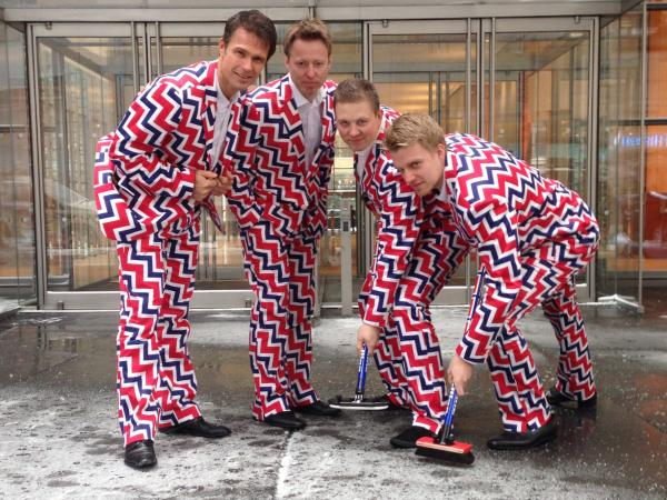In this image provided by Loudmouth Golf, members of Norway's Men's Olympic Curling Team are shown in uniform.