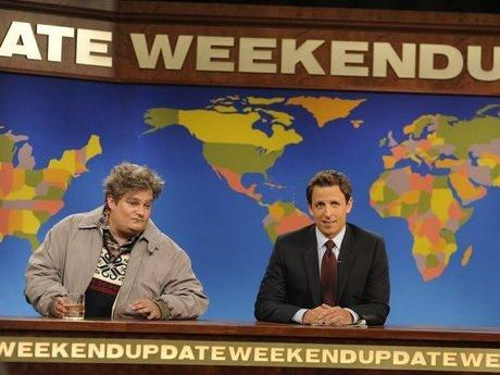 "Bobby Moynihan (left) appears on <em>Saturday Night Live</em> as the character ""Drunk Uncle."""