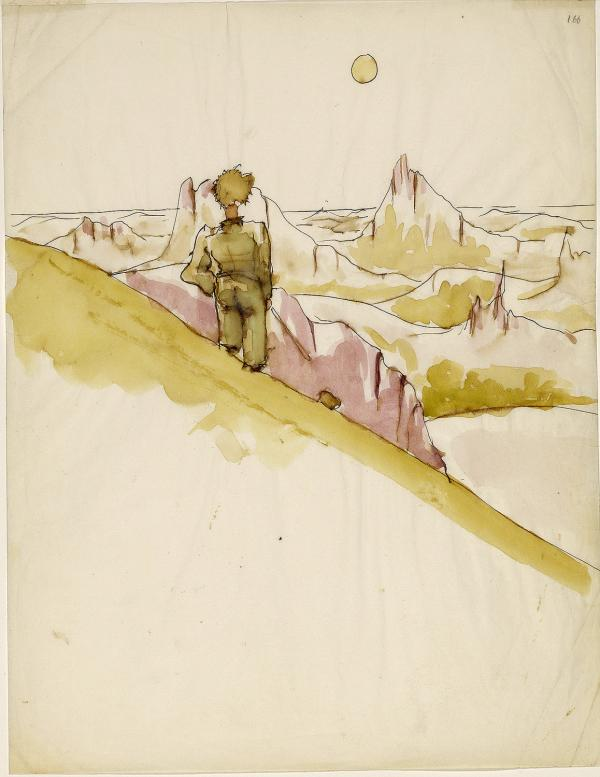 An early illustration for <em>The Little Prince</em> by Antoine Saint-Exupery.