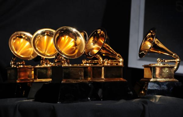 The six trophies for Adele are displayed backstage at the 54th Grammy Awards in Los Angeles, California, February 12, 2012. (Frederic J. Brown/AFP/Getty Images)