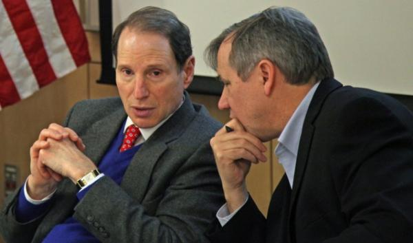 U.S. Sens. Ron Wyden and Jeff Merkley discussed concerns about oil train safety with dozens of public officials and railroad executives Friday.