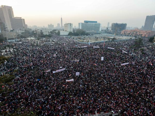 Egyptians gather in Cairo's Tahrir Square on Sunday during a rally marking the anniversary of the 2011 Arab Spring uprising.
