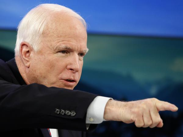 "Sen. John McCain, an Arizona Republican, at the annual meeting of the World Economic Forum in Davos earlier this week. His state's GOP leadership has censured him for his ""disastrous"" record."