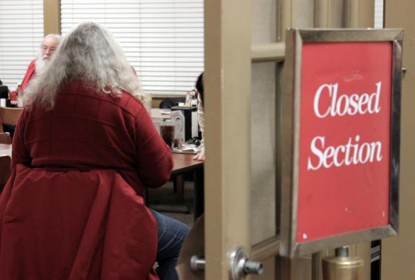 The Golden Corral sections off a private room to protect Santa's identities from children. (Eric Mennel/WUNC)