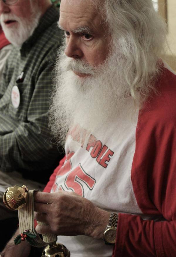 Santa Bryce Bates was the official timekeeper. (Eric Mennel/WUNC)