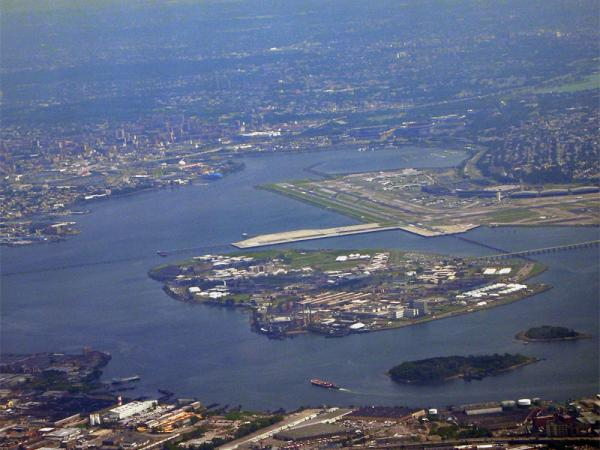 A view of Rikers Island in New York, United States from the air. LaGuardia Airport can be seen in the background.