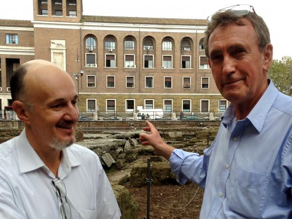 Nic Terrenato (left), who is co-director of the Sant'Omobono excavation project, and Albert Ammerman, another archaeologist, are part of the team working on the excavation, which began last summer.