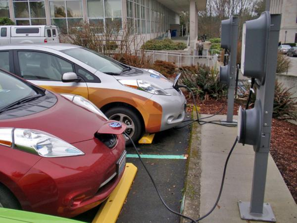 Nissan Leafs charge on the Washington state capitol campus Tuesday.