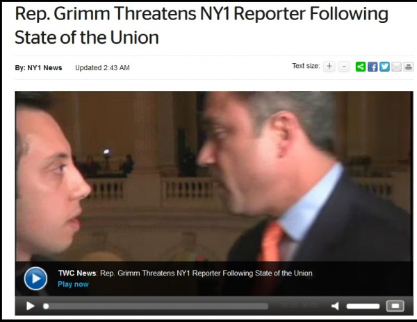 Rep. Michael Grimm, R-N.Y. (right), as he confronted NY1 reporter Michael Scotto on Tuesday in the Capitol.
