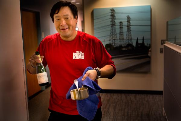 Chef Ming Tsai's travels from the kitchen to the studio carrying Champagne and hot oil for the whole steamed fish. (Jesse Costa/Here & Now)