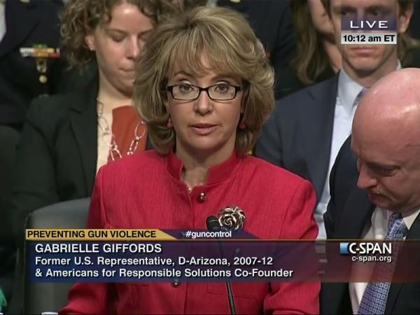 File photo of former Rep. Gabby Giffords at a Senate Judicary Committee hearing on gun violence in 2013