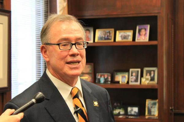 MU Chancellor Brady Deaton speaks with reporters in his office on June 12, 2013