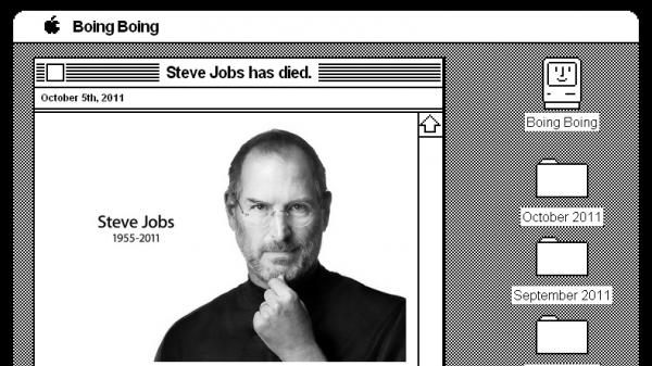 <p>A screengrab shows the Boing Boing website, restyled to resemble one of an early Mac operating system in honor of late Apple co-founder Steve Jobs.</p>