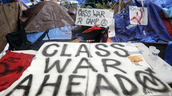 <p>Tents pitched at the Occupy Wall Street encampment at Zuccotti Park in New York. The protests are part of a growing distrust in America of government and public institutions. </p>