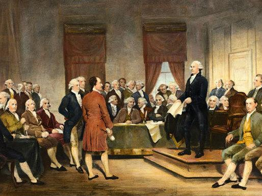 Junius Brutus Stearns' 1856 painting <em>George Washington Addressing the Constitutional Convention</em>.