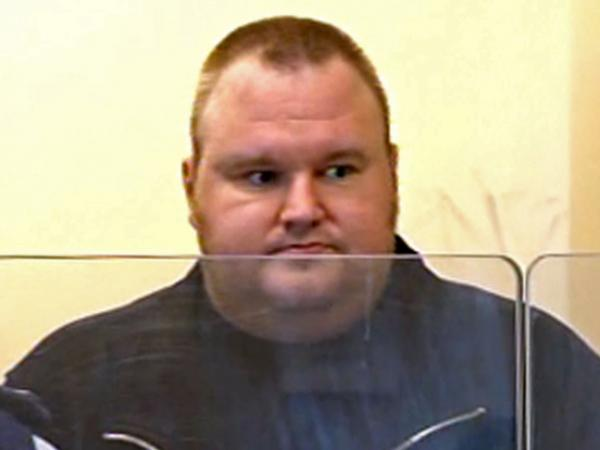 Megaupload founder Kim Dotcom, also known as Kim Schmitz, in an Auckland, New Zealand, court Friday.