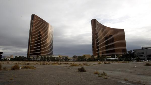 The site of the demolished Frontier casino sits vacant on the Las Vegas Strip in December. Construction of a new hotel and casino, the Las Vegas Plaza, has been delayed until economic conditions improve.